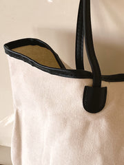Cream and Black Willow Handbag