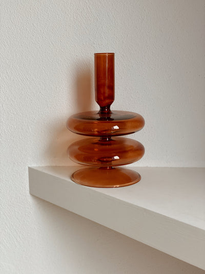 Brown Double Glass Candle Holder