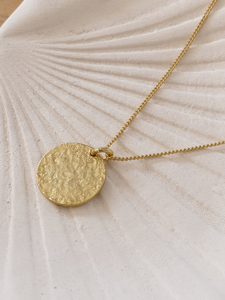 Raw Circle Pendant Necklace