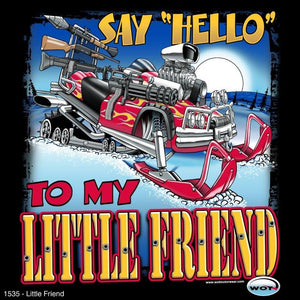 """Lil' Friend"" - Men's Snowmobile T-Shirt - wot-motorwear"