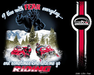 """Fear"" - Men's Long Sleeve Snowmobile Shirt - wot-motorwear"