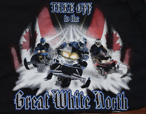 """Great White North"" - Men's Snowmobile T-Shirt - wot-motorwear"