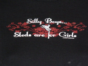 """Silly Boys"" - Women's Long Sleeve Snowmobile Shirt - wot-motorwear"