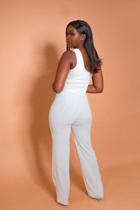 AMOUR ONE SHOULDER FLARE LEG JUMPSUIT