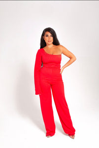 AMOUR ONE SLEEVE FLARE LEG JUMPSUIT