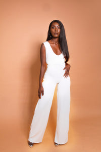 AMOUR V-NECK FLARE LEG JUMPSUIT