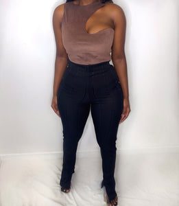 MOCHA - ASYMMETRIC SUEDE TOP