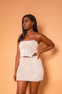 LAVISH BANDEAU TOP AND MINI SKIRT CO-ORD CREAM