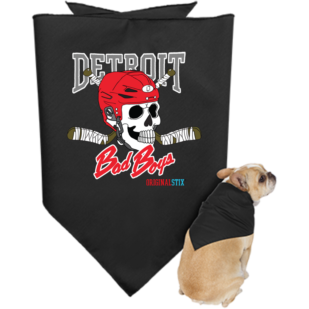 Black / One Size - Detroit Bad Boys Doggie Bandana - Original Stix