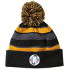 Black/Light Gold / One Size - Striped Winter Beanie with Embroidered Emblem - Original Stix - 3