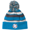 Bright Blue/White / One Size - Striped Winter Beanie with Embroidered Emblem - Original Stix - 2