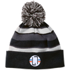 Black/White / One Size - Striped Winter Beanie with Embroidered Emblem - Original Stix - 1