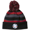 Black/Scarlet / One Size - Striped Winter Beanie with Embroidered Emblem - Original Stix - 5