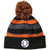 Black/Orange / One Size - Striped Winter Beanie with Embroidered Emblem - Original Stix - 4