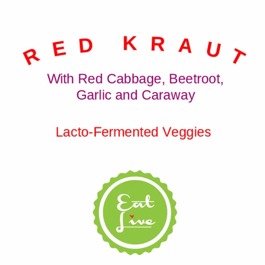 Eat Live Red Kraut with Red Cabbage, Beetroot, Garlic and Caraway
