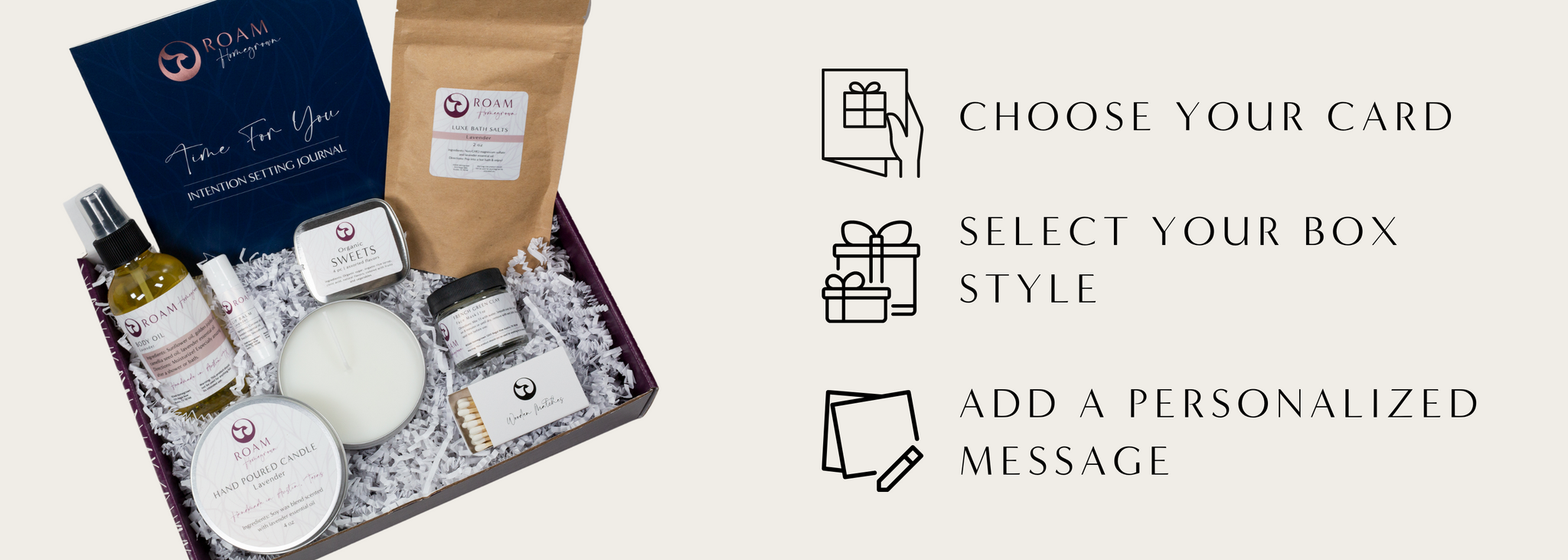 The best self-care gift sets for her delivered with relaxation essentials, handmade with organic, natural products. Includes personalized greeting for new mom, thank you, congratulations, holiday and Christmas.