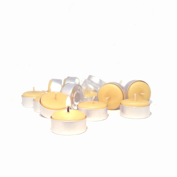 Tealight Beeswax Candles (Metal Cups) | 4-5hr Burn Time