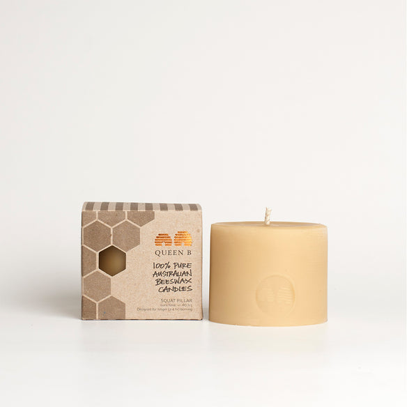Squat Pillar Beeswax Candle | 40hr Burn Time