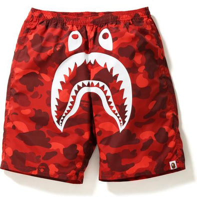 Bape Color Camo Shark Beach Shorts (Red)