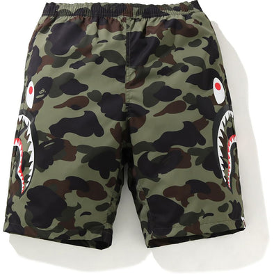 BAPE 1st Camo Side Shark Beach Pants Green