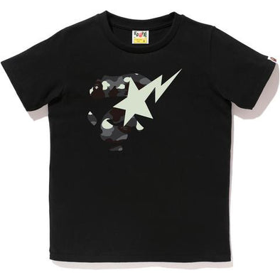 Bape City Camo Ape Face Bapesta Tee (Black)