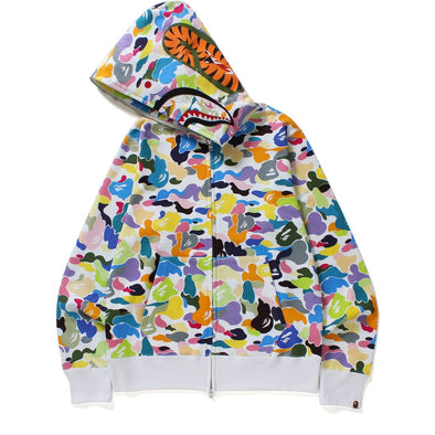 BAPE MULTI CAMO SHARK FULL ZIP HOODIE (WHITE)