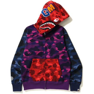 Bape Color Camo Crazy Shark Hoodie (Multi)
