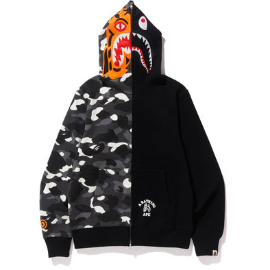 Bape City Camo Tiger Shark Full Zip Hoodie