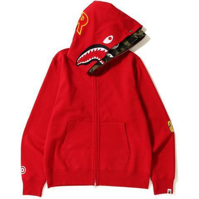 Bape 2nd Shark Wide Full Zip Double Hoodie (Red)
