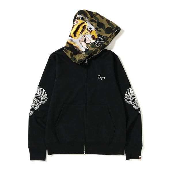 Bape Tiger Embroidery Full Zip Hoodie (Black)