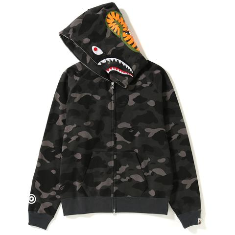 Bape Color Camo Shark Wide Full Zip Hoodie (Black)