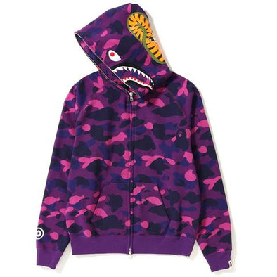 Bape Color Camo Shark Wide Full Zip Hoodie (Purple)