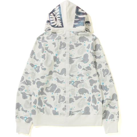 Bape Space Camo Shark Full Zip Hoodie (White)