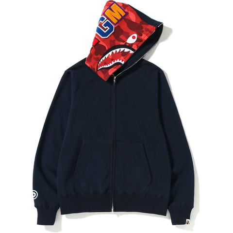 Bape Shark Full Zip Hoodie (Navy/Red)