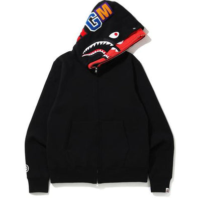 Bape Shark Full Zip Double Hoodie (Black/Red)