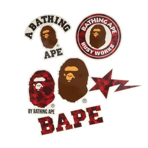 A Bathing Ape Sticker Set (Red)