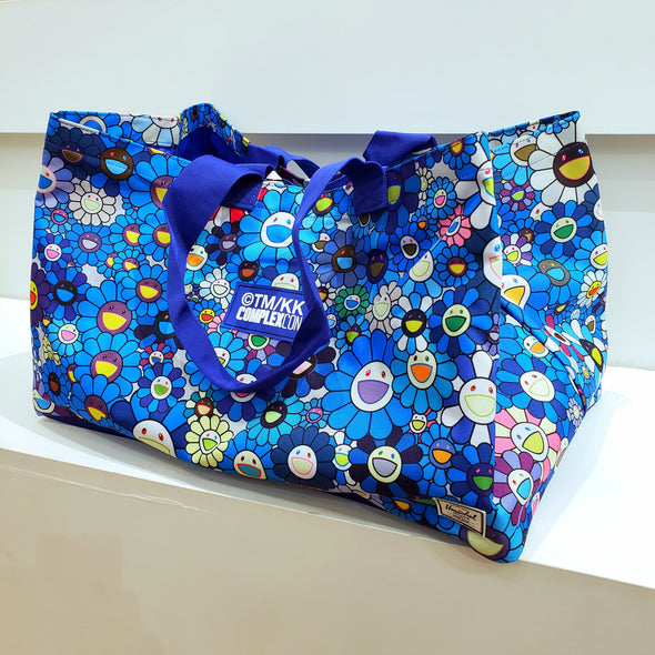 Takashi Murakami Herschel Flower Oversized Canvas Tote Bag (Blue)