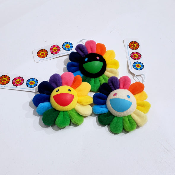 Takashi Murakami Plush Rainbow Flower Pin and Key Chain (Rainbow)