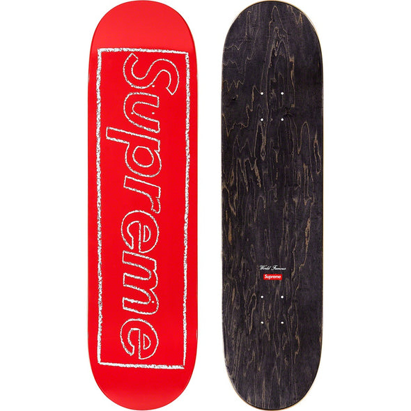 Supreme KAWS CHALK LOGO SKATEBOARD (Red/ Black)