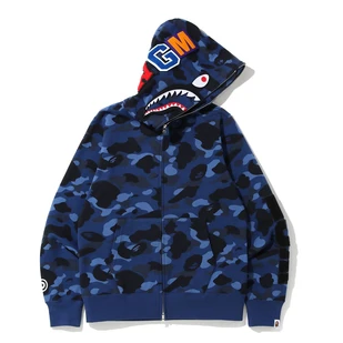 BAPE COLOR CAMO DETACHABLE SHARK FULL ZIP HOODIE (BLUE)