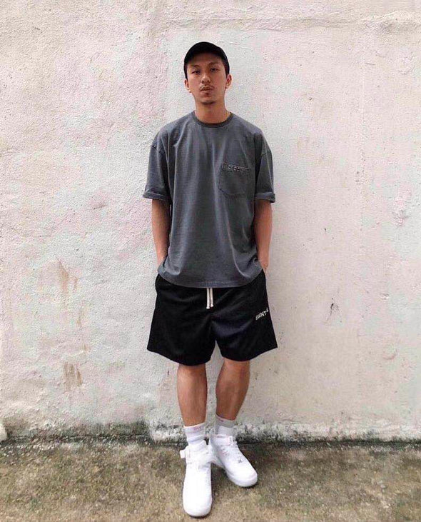 FEAR OF GOD Essentials Graphic Mesh Drawstring Shorts Black