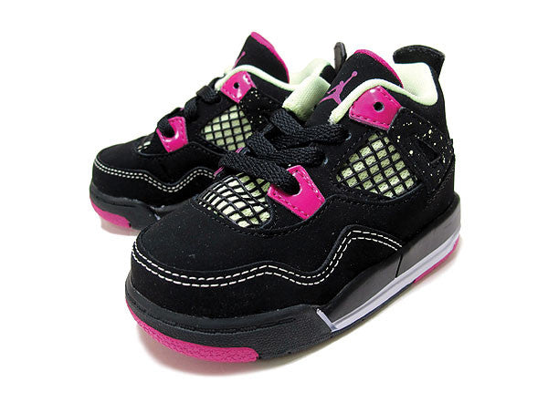 NIKE AIR BABY JORDAN 4 RETRO GT BLACK FUCHSIA FLASH 705345027