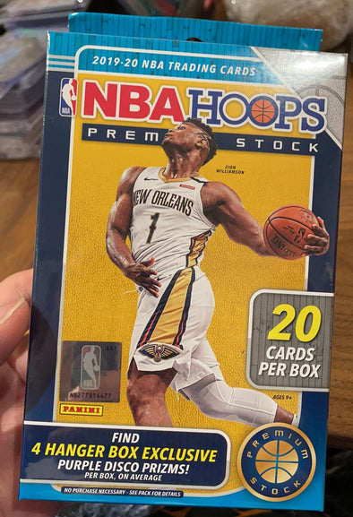 2019/20 panini hoops premium stock hanger box ( 20 cards per box , 4 purple disco prism per box ! )