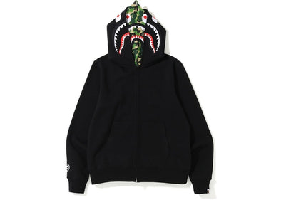 Bape ABC Shark Full Zip Double Hoodie (Black/Green)