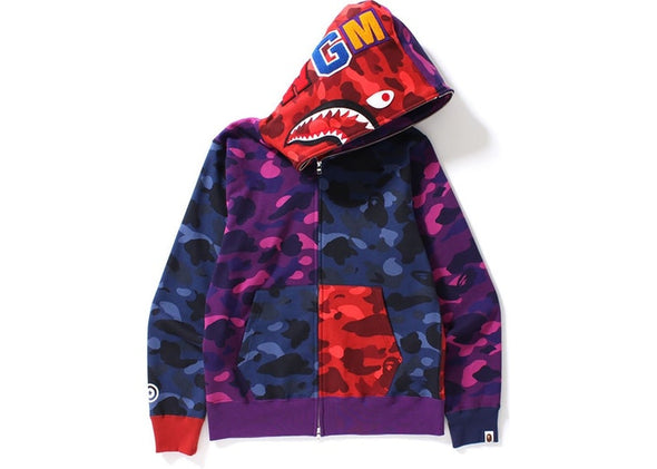 BAPE Color Camo Crazy Shark Full Zip Hoodie Multi