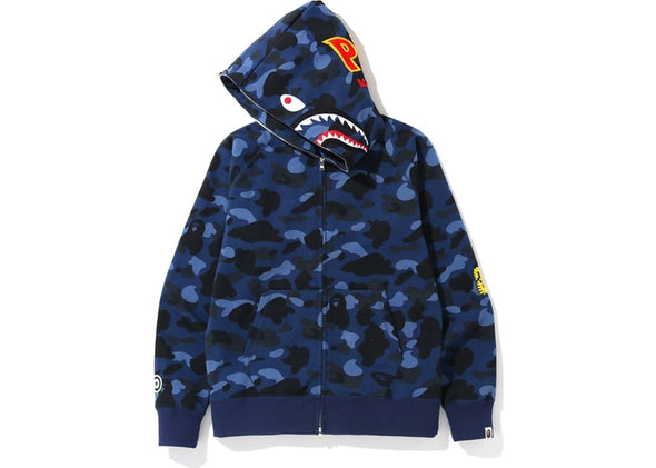 BAPE Color Camo PONR Shark Full Zip Hoodie (Navy)