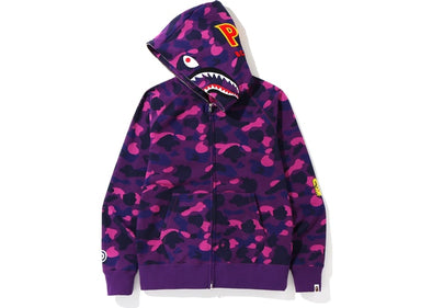 BAPE Color Camo PONR Shark Full Zip Hoodie (Purple)