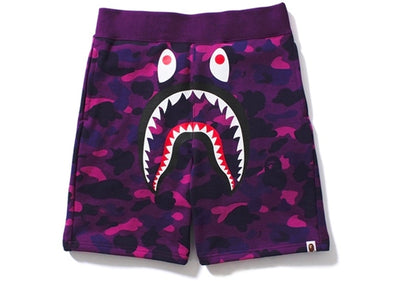 BAPE Color Camo Shark Sweat Shorts Purple