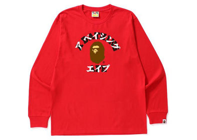 Bape Katakana Long Sleeve Tee (Red)