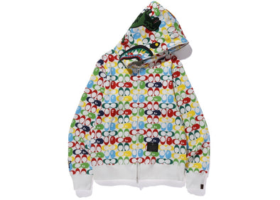 BAPE x Coach Shark Full Zip Hoodie Multi color